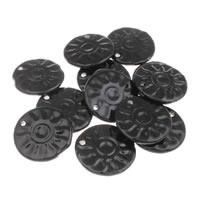 Porzellan-Anhänger, Porzellan, flache Runde, glaciert, schwarz, 42x6mm, Bohrung:ca. 3mm, 10PCs/Tasche, verkauft von Tasche