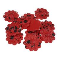 Porzellan-Anhänger, Porzellan, Blume, glaciert, rot, 52x55x18mm, Bohrung:ca. 2mm, 10PCs/Tasche, verkauft von Tasche
