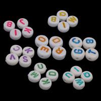 Alphabet Acryl Perlen, flache Runde, gemischtes Muster & mit Brief Muster & Volltonfarbe, keine, 7x3mm, Bohrung:ca. 1mm, ca. 3700PCs/Tasche, verkauft von Tasche