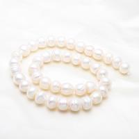 Barock kultivierten Süßwassersee Perlen, Natürliche kultivierte Süßwasserperlen, rund, natürlich, weiß, 10-11mm, Bohrung:ca. 0.8mm, verkauft per 14.7 ZollInch Strang