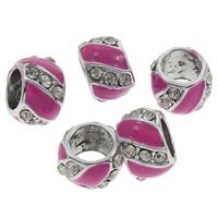 Strass Zinklegierung Perlen, Trommel, plattiert, Emaille & mit Strass & großes Loch, keine, frei von Blei & Kadmium, 9x13mm, Bohrung:ca. 7mm, 100PCs/Tasche, verkauft von Tasche