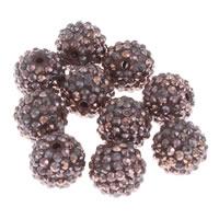 Harz Strass Perle, rund, dunkle Kaffee-Farbe, 16mm, Bohrung:ca. 2.5mm, 10PCs/Tasche, verkauft von Tasche