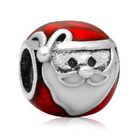 Europa Beads Weihnachten, Zinklegierung, Weihnachtsmann, antik silberfarben plattiert, Weihnachtsschmuck & ohne troll & Emaille, frei von Nickel, Blei & Kadmium, 14.04x14.27mm, Bohrung:ca. 4.5-5mm, 20PCs/Menge, verkauft von Menge