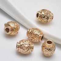 24K Gold Perlen, Messing, Trommel, 24 K vergoldet, frei von Blei & Kadmium, 9.70x8.50x2.70mm, Bohrung:ca. 1.5mm, 20PCs/Tasche, verkauft von Tasche