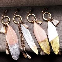 Mode-Feder-Ohrring, Feder, mit Harz & Zinklegierung, Messing Stecker, goldfarben plattiert, für Frau & Golddruck, keine, 15x100mm, verkauft von Paar