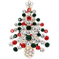 Weihnachten Broschen, Zinklegierung, Weihnachtsbaum, goldfarben plattiert, Weihnachtsschmuck & für Frau & mit Strass, frei von Nickel, Blei & Kadmium, 41x57mm, 3PCs/Menge, verkauft von Menge