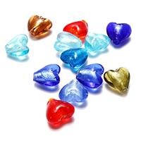 Silberfolie Lampwork Perlen, Herz, gemischte Farben, 12.50x12x8mm, Bohrung:ca. 1.5mm, 50PCs/Menge, verkauft von Menge