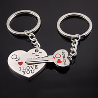 Zinklegierung Puzzle-Schlüsselanhänger, Wort ich liebe dich, Platinfarbe platiniert, Emaille, frei von Nickel, Blei & Kadmium, 88mm, verkauft von Paar