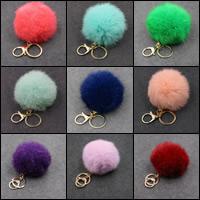 Schlüsselanhänger, Zinklegierung, mit Hasenhaar, goldfarben plattiert, keine, frei von Nickel, Blei & Kadmium, 80mm, verkauft von PC