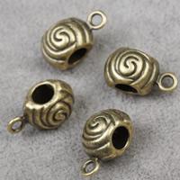 Zinklegierung Stiftöse Perlen, Trommel, antike Bronzefarbe plattiert, frei von Blei & Kadmium, 15x9x9mm, Bohrung:ca. 1.5mm, 4.5mm, 30PCs/Tasche, verkauft von Tasche