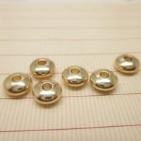 24K Gold Perlen, Messing, flache Runde, 24 K vergoldet, verschiedene Größen vorhanden, frei von Blei & Kadmium, Bohrung:ca. 1-2mm, 10PCs/Tasche, verkauft von Tasche
