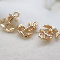 24K Gold Anhänger, Messing, Anker, 24 K vergoldet, frei von Blei & Kadmium, 11.5x9mm, Bohrung:ca. 1-2mm, 10PCs/Tasche, verkauft von Tasche