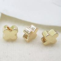 24K Gold Perlen, Messing, vierblättriges Kleeblatt, 24 K vergoldet, frei von Blei & Kadmium, 6mm, Bohrung:ca. 1-2mm, 10PCs/Tasche, verkauft von Tasche