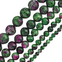 Unakit Perlen, Rubin Zoisit, rund, verschiedene Größen vorhanden, Bohrung:ca. 1-2mm, verkauft per ca. 15 ZollInch Strang