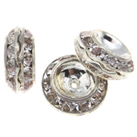 Strass Messing Perlen, Trommel, Platinfarbe platiniert, mit Strass, frei von Nickel, Blei & Kadmium, 13x6mm, Bohrung:ca. 1mm, 10PCs/Tasche, verkauft von Tasche
