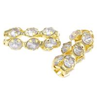 Strass Messing Perlen, goldfarben plattiert, mit Strass & hohl, frei von Nickel, Blei & Kadmium, 6.50x15.50x6.50mm, Bohrung:ca. 2.5mm, 100PCs/Tasche, verkauft von Tasche
