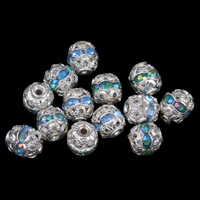 Strass Messing Perlen, rund, silberfarben plattiert, mit Strass & hohl, keine, frei von Nickel, Blei & Kadmium, 6mm, Bohrung:ca. 1mm, 100PCs/Tasche, verkauft von Tasche