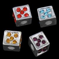 Strass Zinklegierung Perlen, Quadrat, silberfarben plattiert, mit Strass, keine, frei von Blei & Kadmium, 8mm, Bohrung:ca. 3mm, 10PCs/Tasche, verkauft von Tasche