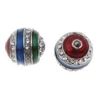 Strass Zinklegierung Perlen, rund, Platinfarbe platiniert, Emaille & mit Strass, frei von Blei & Kadmium, 12mm, Bohrung:ca. 2mm, 10PCs/Tasche, verkauft von Tasche
