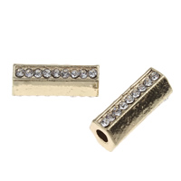 Strass Zinklegierung Perlen, Zylinder, KC goldfarben plattiert, mit Strass, frei von Blei & Kadmium, 9x21x8mm, Bohrung:ca. 4mm, 10PCs/Tasche, verkauft von Tasche
