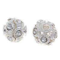 Strass Zinklegierung Perlen, rund, Platinfarbe platiniert, mit Strass, frei von Blei & Kadmium, 15mm, Bohrung:ca. 4.5mm, 10PCs/Tasche, verkauft von Tasche