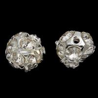 Strass Messing Perlen, rund, silberfarben plattiert, mit Strass, frei von Nickel, Blei & Kadmium, 12mm, Bohrung:ca. 1mm, 10PCs/Tasche, verkauft von Tasche