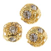 Strass Messing Perlen, rund, goldfarben plattiert, mit Strass, frei von Nickel, Blei & Kadmium, 8mm, Bohrung:ca. 3mm, 10PCs/Tasche, verkauft von Tasche