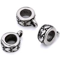 Edelstahl Kaution Perlen, Rondell, Schwärzen, originale Farbe, 9mm, Bohrung:ca. 2mm, 5mm, verkauft von PC