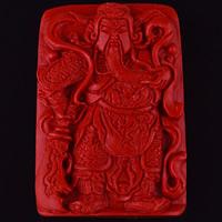 Zinnober Anhänger, Cinnabaris, Guan Gong, geschnitzt, 52x36x10mm, Bohrung:ca. 3mm, verkauft von PC