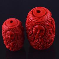 Zinnoberrot Perlen, Cinnabaris, Trommel, geschnitzt, verschiedene Größen vorhanden, Bohrung:ca. 3mm, 10PCs/Tasche, verkauft von Tasche
