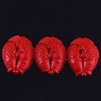 Zinnoberrot Perlen, Cinnabaris, Doppel-Fisch, geschnitzt, 25x22x9mm, Bohrung:ca. 3mm, 10PCs/Tasche, verkauft von Tasche