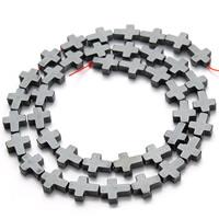 Nicht-magnetische Hämatit Perlen, Non- magnetische Hämatit, Kreuz, schwarz, 8x10mm, Bohrung:ca. 1mm, ca. 38PCs/Strang, verkauft per ca. 15.5 ZollInch Strang