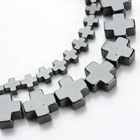 Nicht-magnetische Hämatit Perlen, Non- magnetische Hämatit, Kreuz, verschiedene Größen vorhanden, schwarz, Bohrung:ca. 1mm, verkauft per ca. 15.5 ZollInch Strang