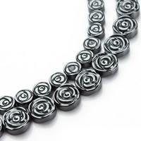 Nicht-magnetische Hämatit Perlen, Non- magnetische Hämatit, Blume, verschiedene Größen vorhanden, schwarz, Bohrung:ca. 1mm, verkauft per ca. 15.5 ZollInch Strang