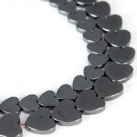 Nicht-magnetische Hämatit Perlen, Non- magnetische Hämatit, Herz, verschiedene Größen vorhanden, schwarz, Bohrung:ca. 1mm, verkauft per ca. 15.5 ZollInch Strang