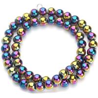 Nicht-magnetische Hämatit Perlen, Non- magnetische Hämatit, rund, bunte Farbe plattiert, verschiedene Größen vorhanden, Bohrung:ca. 1mm, verkauft per ca. 15.5 ZollInch Strang