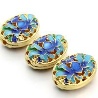 Cloisonne Perlen, Cloisonné, flachoval, handgemacht, hohl, gemischte Farben, 15x20mm, Bohrung:ca. 1.5mm, 3PCs/Tasche, verkauft von Tasche