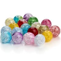 Knistern Glasperlen, Glas, rund, verschiedene Größen vorhanden, gemischte Farben, Bohrung:ca. 1mm, 100PCs/Tasche, verkauft von Tasche