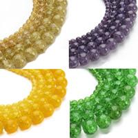 Knistern Glasperlen, Glas, rund, verschiedene Größen vorhanden, keine, Bohrung:ca. 1mm, verkauft per ca. 15.5 ZollInch Strang