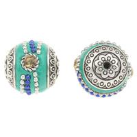 Indonesien Perlen, Zinklegierung, mit Indonesien, Trommel, antik silberfarben plattiert, mit Strass, frei von Blei & Kadmium, 18x20mm, Bohrung:ca. 2mm, verkauft von PC