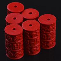 Zinnoberrot Perlen, Cinnabaris, Zylinder, geschnitzt, 13x24mm, Bohrung:ca. 3mm, 10PCs/Tasche, verkauft von Tasche
