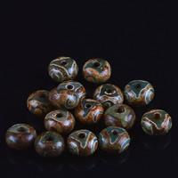 Zwei Ton Achat Perlen, Tibetan Achat, Trommel, natürlich, zweifarbig, 8x13mm, Bohrung:ca. 1-2mm, 5PCs/Tasche, verkauft von Tasche