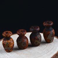Zwei Ton Achat Perlen, Tibetan Achat, Weinflasche, natürlich, gemischtes Muster & zweifarbig, 22x14mm, Bohrung:ca. 1-2mm, 2PCs/Tasche, verkauft von Tasche