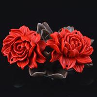 Cinnabaris Schmuckverbinder, Blume, geschnitzt, 1/1-Schleife, 40x15mm, Bohrung:ca. 1-2mm, 5PCs/Tasche, verkauft von Tasche