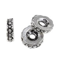 Zinklegierung flache Perlen, flache Runde, antik silberfarben plattiert, frei von Blei & Kadmium, 2x8mm, Bohrung:ca. 2mm, 100G/Tasche, verkauft von Tasche