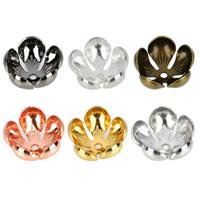 Messing Perlenkappe, Blume, plattiert, keine, frei von Nickel, Blei & Kadmium, 13x6mm, Bohrung:ca. 1.5mm, 50PCs/Tasche, verkauft von Tasche