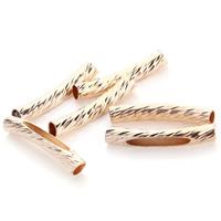 Messing Rohr Perlen, Rósegold-Farbe plattiert, Blume Schnitt, frei von Nickel, Blei & Kadmium, 4x32mm, Bohrung:ca. 3mm, 35PCs/Tasche, verkauft von Tasche