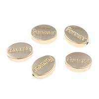 Zinklegierung flache Perlen, flachoval, Wort für immer, goldfarben plattiert, mit Brief Muster, frei von Blei & Kadmium, 11x8x4mm, Bohrung:ca. 1mm, verkauft von PC