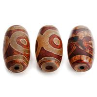 Natürliche Tibetan Achat Dzi Perlen, Trommel, 15x26mm, Bohrung:ca. 3mm, 2PCs/Tasche, verkauft von Tasche