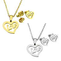 Edelstahl Schmucksets, Ohrring & Halskette, Herz, Wort Liebe, plattiert, Oval-Kette & für Frau, keine, 17x15x1.5mm, 1.5x2x0.5mm, 10.5x10x12.5mm, Länge:ca. 19.8 ZollInch, verkauft von setzen